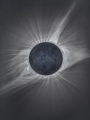 """A total solar eclipse (nicknamed """"The Great American Eclipse"""") is visible within a band across the entire contiguous United States of America, passing from the Pacific to the Atlantic coasts."""