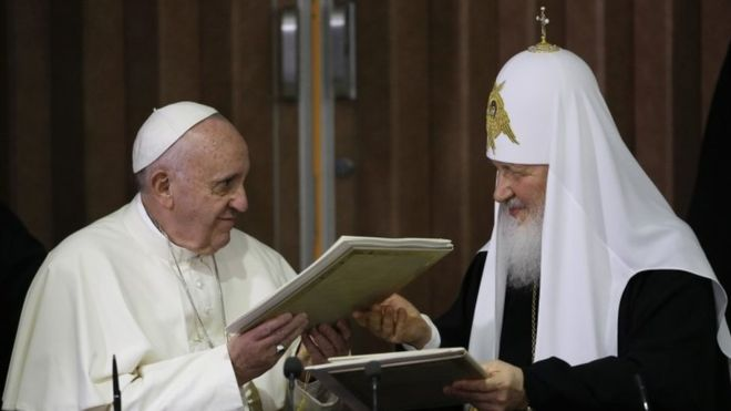 Pope Francis and Patriarch Kirill sign an Ecumenical Declaration in the first such meeting between leaders of the Catholic and Russian Orthodox Churches since their schism in 1054.