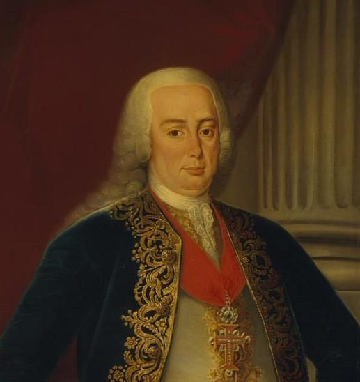 A rainha D. Mariana Vitória entrega a D. Pedro III, consorte de D. Maria I, o governo das terras das rainhas, durante a sua ausência em Espanha