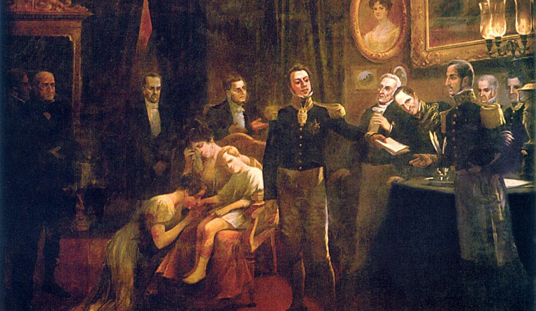 D. Pedro I, Imperador do Brasil, abdica em favor do seu filho D. Pedro II