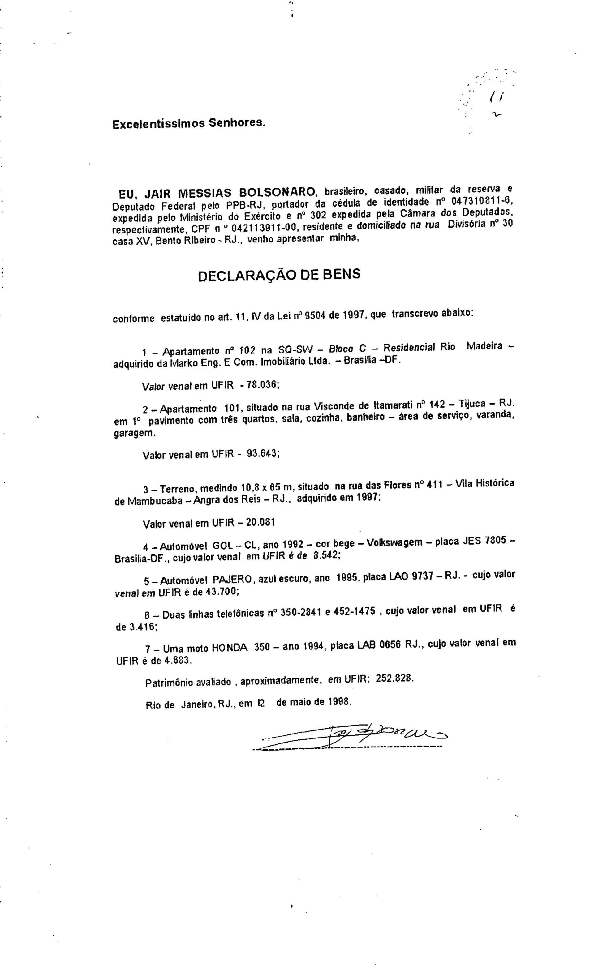 Eleições 1998 - R$ 252.828