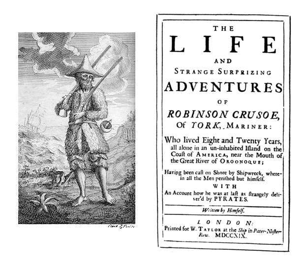 Daniel Defoe writes Robinson Crusoe