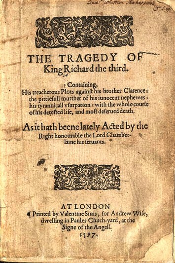 Shakespeare writes Richard III