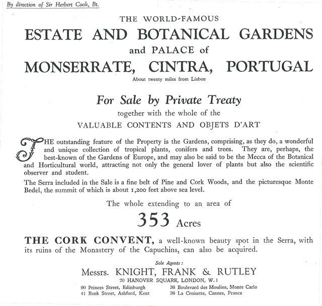 A família Cook coloca a quinta de Monserrate à venda