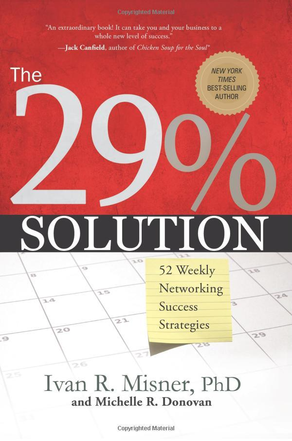 """On September 01, 2008, the book """"The 29% Solution: 52 Weekly Networking Success Strategies"""" was released."""